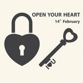 Key with a heart inside and lock as heart. Vector of Valentine's Day — Stock Vector