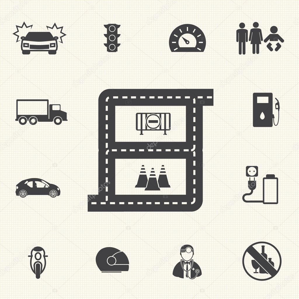 驱动器安全用于图表的图标.矢量图标集