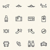 Simple Stroked Airport icon sets. Line icons. — Stock Vector