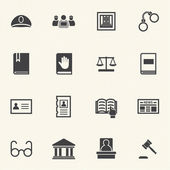 Legal, law and justice icons set with texture background. Vector — Stock Vector