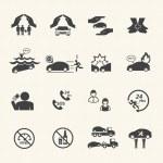 Car insurance icons set. — Stock Vector