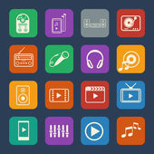 Multimedia and entertainment icons set. Flat design for Website and Mobile applications. Vector — Wektor stockowy