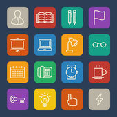 Business and office icons set for Website and Mobile applications. Flat design. — Stock Vector