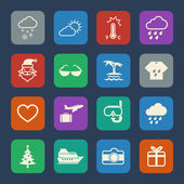 Event and weather icons set. Flat design for Website and Mobile applications. Vector — Vetor de Stock