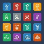 Trophy and awards icons set for website ans Mobile applications. Flat design. — Stock Vector