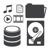 Data storage and Database icons set. — Stock Vector