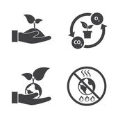 Eco energy icons set with texture background. Save the world. — Stock Vector