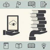 E-Book with Cloud computing. Vector icons set — Stockvector