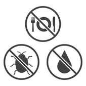 Do not Eat, Bug and Wet icons. — Stock Vector