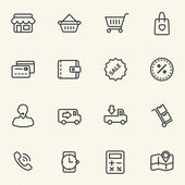 Shopping mall and delivery icons set . — Stock Vector