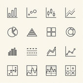 Business Graph icon set. Thin Line icons — Vector de stock