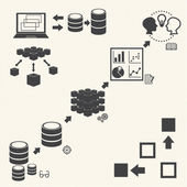 Big Data icons set, Data minning concept — Stock Vector