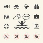 Lifeguard and beach warning icon set — Stock Vector