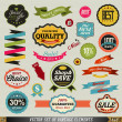 Set of vector stickers and ribbons - Imagen vectorial