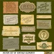Stock Photo: Organic food vintage labels and vector elements