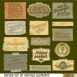 Organic food vintage labels and vector elements - Stock Photo