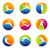 Fitness elements and logos — Stock Photo
