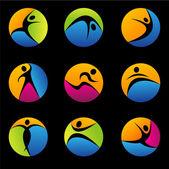 Fitness elemente und logos — Stockfoto