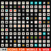 Icons For Web and Mobile on black background — Stock Photo