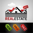 Real estate, new, sale, sold, vector icon — Stok Vektör