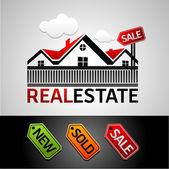 Real estate, new, sale, sold, vector icon — Stock Vector