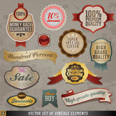 Vintage And Retro Design Elements. Old papers, labels in retro and vintage style. Vector Illustration. — Stock Vector