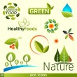 Green vector icons — Stock Vector