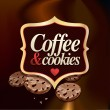 Coffee and cookies vector label and background — Stock Vector