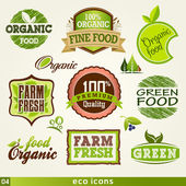 Set of organic and farm fresh food labels and Elements — Stock Vector
