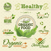 Set of Fresh Organic vector Labels and Elements — Vettoriale Stock