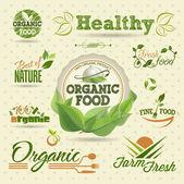 Set di etichette vettore biologico fresco e gli elementi — Vettoriale Stock