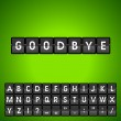 图库矢量图片: Mechanical panel letters. Goodbye.