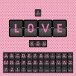 Mechanical pink panel letters, I love you. — Stock Vector