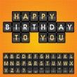 Mechanical panel letters. Happy birthday to you. — Stock Vector