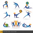 Fitness elements and globe ball — Stock Vector