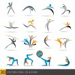 Fitness elements and logos — Vector de stock #32384601