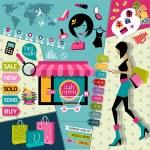 Fashion symbols of online shopping — Stock Vector
