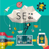 Flat design  illustration (concept of SEO) — Stock Vector