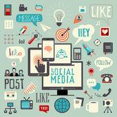 Signo de los medios sociales — Vector de stock