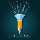 Creativity Success Concept with Pencil — Stock Vector