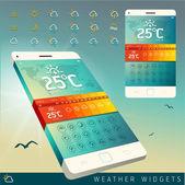 Weather Widget Symbols and Interface Design — Stock Vector