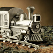 Pewter Model Train on Tracks — Stock Photo #19714279