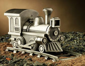 Pewter Model Train on Tracks — Stock Photo