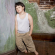 Boy in White Shirt and Khaki Pants - Foto Stock