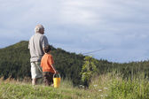 Grandfather and Grandson Going Fishing — Stock Photo