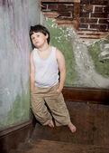 Boy in White Shirt and Khaki Pants — Stock Photo