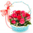 Pink rose in basket — Stock Photo