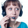 Young girl in headphones with microphone — Stock Photo