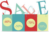 Kolor torby na zakupy i sprzedaż litery — Wektor stockowy