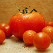 Big red tomato among small tomatoes — Stock Photo